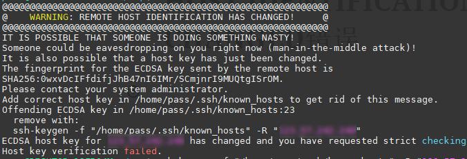 ssh登陆时候出现REMOTE HOST IDENTIFICATION HAS CHANGED错误