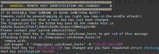 ssh登陆时候出现REMOTE HOST IDENTIFICATION HAS CHANGED错误